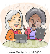 Vector of Happy Cartoon White and Black Senior Women Laughing and Video Streaming on Their Laptop and Tablet Computers by BNP Design Studio