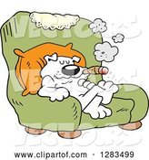 Vector of Happy Cartoon White Boss Dog Smoking a Cigar in a Green Arm Chair by Johnny Sajem
