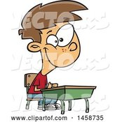 Vector of Happy Cartoon White Boy Sitting at His School Desk by Toonaday