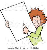 May 4th, 2018: Vector of Happy Cartoon White Businesswoman Holding and Pointing to a Blank Sign or Document by Johnny Sajem