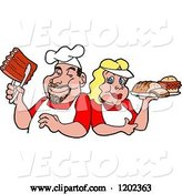Vector of Happy Cartoon White Chef Couple Holding Ribs and a Plate of Bbq Foods by LaffToon