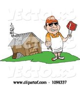 Vector of Happy Cartoon White Chef Holding a Thumb up and Ribs with Tongs by a Smoke House by LaffToon