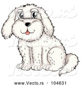 March 24th, 2018: Vector of Happy Cartoon White Dog Sitting by Graphics RF