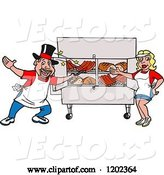 Vector of Happy Cartoon White Magician Chef Guy and Lady Presenting a Bbq Meat Display by LaffToon