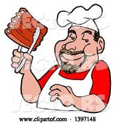 Vector of Happy Cartoon White Male BBQ Chef Holding Ribs with Tongs by LaffToon