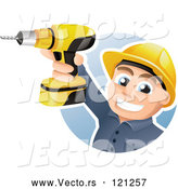May 3rd, 2018: Vector of Happy CartoonConstruction Worker Holding up a Power Drill by TA Images