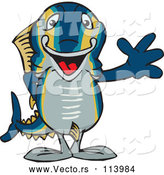 Vector of Happy CartoonTuna Fish Waving by Dennis Holmes Designs