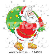 Vector of Happy CartoonWhite Santa Claus Carrying Sack in the Snow, over a Green Circle by Alex Bannykh