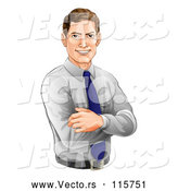 Vector of Happy Caucasian Businessman with Folded Arms by AtStockIllustration