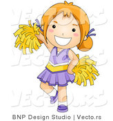 Vector of Happy Cheerleader Girl Wearing Purple Outfit by BNP Design Studio