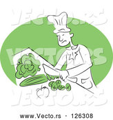 Vector of Happy Chef Cutting Veggies by Prawny