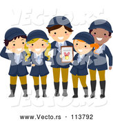 Vector of Happy Child Equestrian Team Holding a Medal by BNP Design Studio