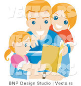 Vector of Happy Dad Reading Book Story to His Daughter and Son by BNP Design Studio