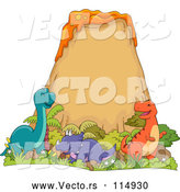 March 28th, 2018: Vector of Happy Dinosaurs at a Volcano by BNP Design Studio