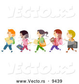 Vector of Happy Diverse Cartoon Children Walking in Line to Art School by BNP Design Studio