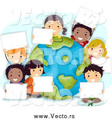 Vector of Happy Diverse Kids Holding Signs Around a Globe on Earth Day by BNP Design Studio
