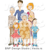 Vector of Happy Extended Family Standing Together by BNP Design Studio