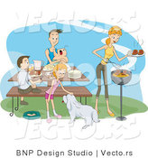 Vector of Happy Family Having Bbq Picnic by BNP Design Studio