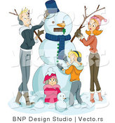 Vector of Happy Family of 4 Making a Snowman Together by BNP Design Studio