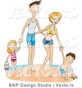 Vector of Happy Family of 4 Playing Together at a Beach by BNP Design Studio