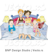 Vector of Happy Family Sitting in Bed and Reading Book by BNP Design Studio