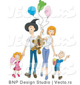 Vector of Happy Family Walking Through Amusement Park by BNP Design Studio