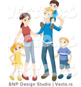 Vector of Happy Family with 3 Children, a Mother, and a Father by BNP Design Studio