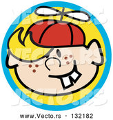 Vector of Happy Freckled Blond Haired Boy with Buck Teeth, Wearing a Spinner Hat by Andy Nortnik