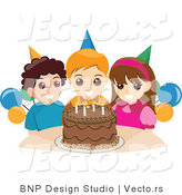 Vector of Happy Girl and Boys Standing Around a Chocolate Birthday Cake by BNP Design Studio