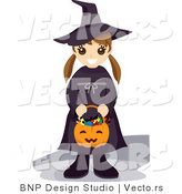 Vector of Happy Girl Holding Pumpkin Basket While Wearing Witch Costume by BNP Design Studio