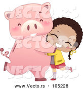 Vector of Happy Girl Hugging or Dancing with Her Piggy Bank by BNP Design Studio