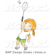 Vector of Happy Girl Playing Game of Badminton by BNP Design Studio