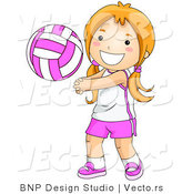 Vector of Happy Girl Playing Game of Volleyball by BNP Design Studio