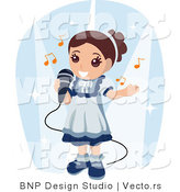 Vector of Happy Girl Singing into a Microphone by BNP Design Studio