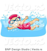 Vector of Happy Girl Swimming While Wearing a Hair Cap by BNP Design Studio