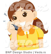 Vector of Happy Girl Talking on Cell Phone by BNP Design Studio