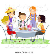 Vector of Happy Girls Having a Tea Party by BNP Design Studio