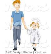 Vector of Happy Graduate Girl Holding Dad's Hand While Walking Forward - Cartoon Styled by BNP Design Studio
