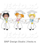 Vector of Happy Graduating Kids Holding Hands and Wearing Medals - Cartoon Styled by BNP Design Studio