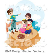 Vector of Happy Group of Children Playing Peter Pan by BNP Design Studio