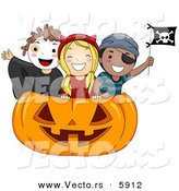 Vector of Happy Halloween Cartoon Kids Inside a Giant Carved Pumpkin by BNP Design Studio