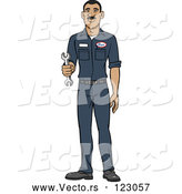 Vector of Happy Hispanic Male Auto Mechanic Holding a Wrench by Cartoon Solutions
