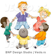 Vector of Happy Kids Holding Hands and Walking in a Circle - Diverse Cartoon Design by BNP Design Studio