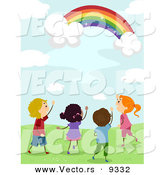 Vector of Happy Kids Looking at a Magical Rainbow in a Sky with Clouds by BNP Design Studio