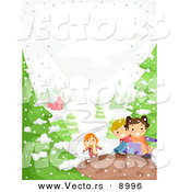 Vector of Happy Kids Playing in Winter Snow near a House by BNP Design Studio