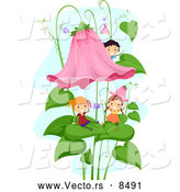 Vector of Happy Kids Playing on Flowers and Leaves by BNP Design Studio