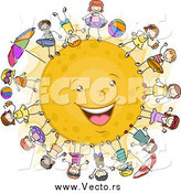 Vector of Happy Kids Surrounding the Sun by BNP Design Studio