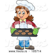 Vector of Happy Lady Baking Chocolate Chip Cookies by Visekart