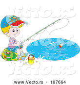 Vector of Happy Little White Boy Sitting on a Bag and Fishing by Alex Bannykh