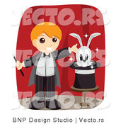 Vector of Happy Magician Boy Presenting a Rabbit in a Hat on a Stage by BNP Design Studio